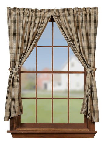 Cottonwood Black Short Panel Window Curtains Pair - 72x63 total - 2 inch rod pocket