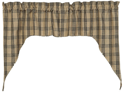 Cottonwood Black Swag Set Window Curtains Pair - 72x36 total - 2 inch rod pocket