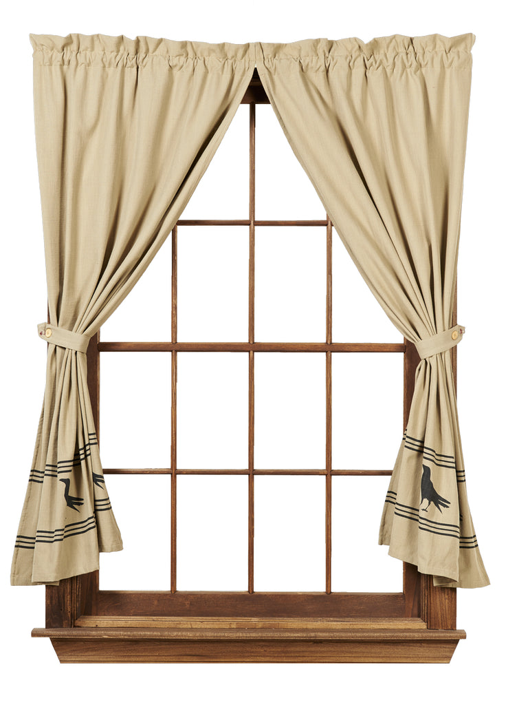 Olde Crow Short Panel Window Curtains Pair - 72x63 total - 2 inch rod pocket