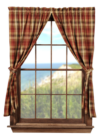 Cabernet Short Panel Window Curtains Pair - 72x63 total - 2 inch rod pocket