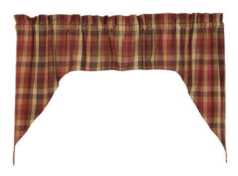 Cabernet Swag Set Window Curtains Pair - 72x36 total - 2 inch rod pocket
