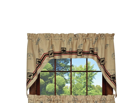 Timber Trail Swag Set Window Curtains Pair - 72x36 total - 2 inch rod pocket
