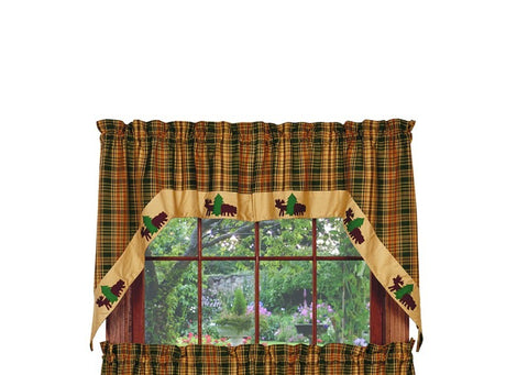 Woods Bear and Moose Swag Set Window Curtains Pair - 72x36 total - 2 inch rod pocket