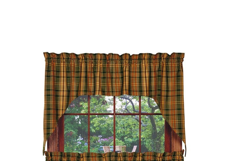 Woods Swag Set Window Curtains Pair - 72x36 total - 2 inch rod pocket