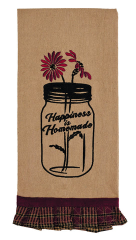 "Chelsea ""Happiness Is Homemade"" Dishtowel - Country Farmhouse Kitchen Funny Dish Towels"
