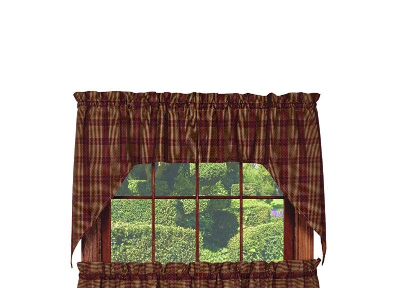 Chelsea Swag Set Window Curtains Pair - 72x36 total - 2 inch rod pocket