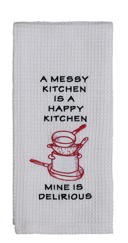"Sorbet Coral Fuschia Red Pink ""Mine Is Delirious"" Dishtowel - Country Farmhouse Kitchen Dish Towels"