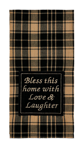 "Heritage Check Black ""Bless This Home"" Dishtowel - Country Farmhouse Kitchen Funny Dish Towels"