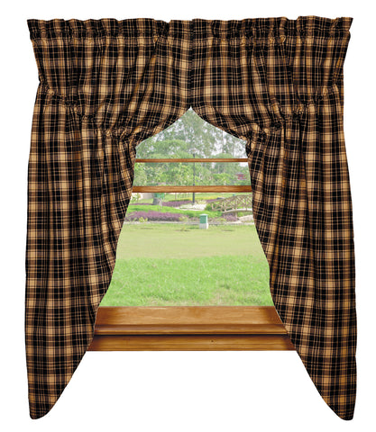 Heritage Check Black Prairie Curtain Set