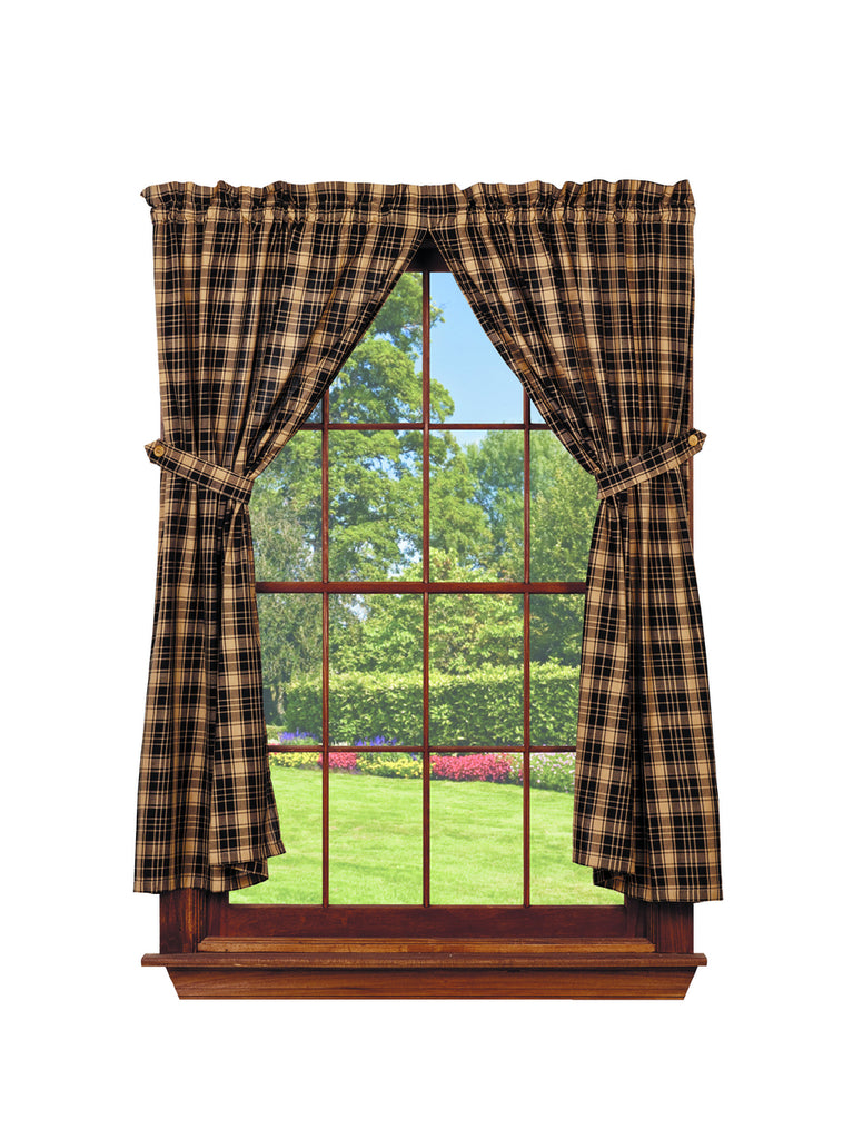 Heritage Check Black Short Panel Window Curtains Pair - 72x63 total - 2 inch rod pocket