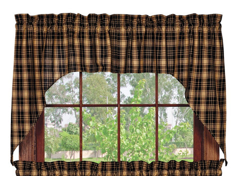 Heritage Check Black Swag Set Window Curtains Pair - 72x36 total - 2 inch rod pocket