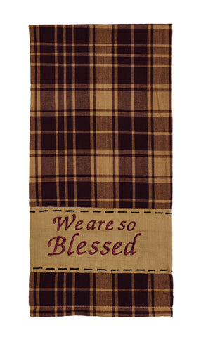 Heritage Check Wine - Burgundy So Blessed Dishtowel