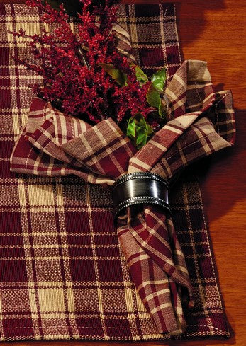 Heritage Check Wine - Burgundy Napkin