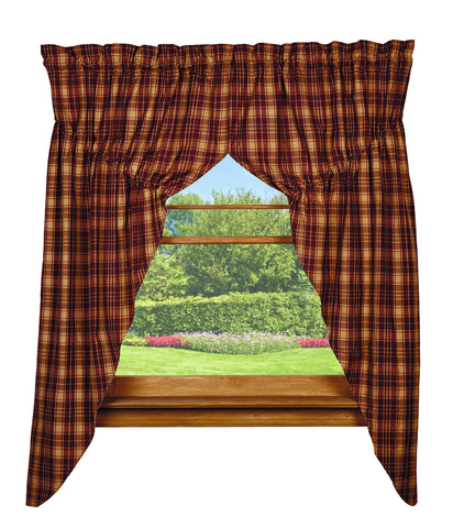 Heritage Check Wine - Burgundy Prairie Curtain Set