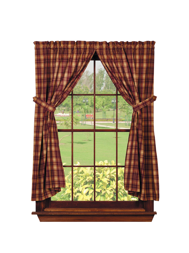 Heritage Check Wine - Burgundy Short Panel Window Curtains Pair - 72x63 total - 2 inch rod pocket