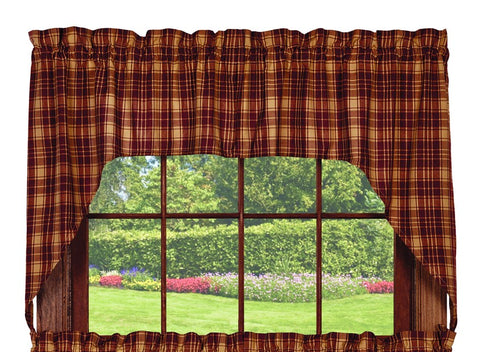 Heritage Check Wine - Burgundy Swag Set Window Curtains Pair - 72x36 total - 2 inch rod pocket