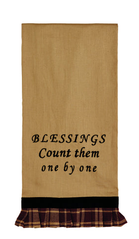 Heritage Star Wine - Burgundy Blessings Count Them Dishtowel - Country Farmhouse Kitchen Dish Towels