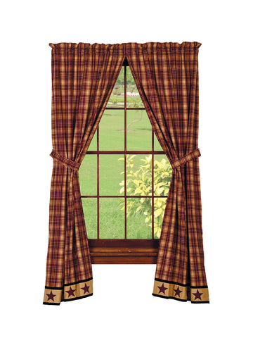 Heritage Star Wine - Burgundy Panel Window Curtains Pair -72x84 total - 2 inch rod pocket
