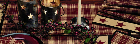 Heritage Star Wine - Burgundy Short Table Runner