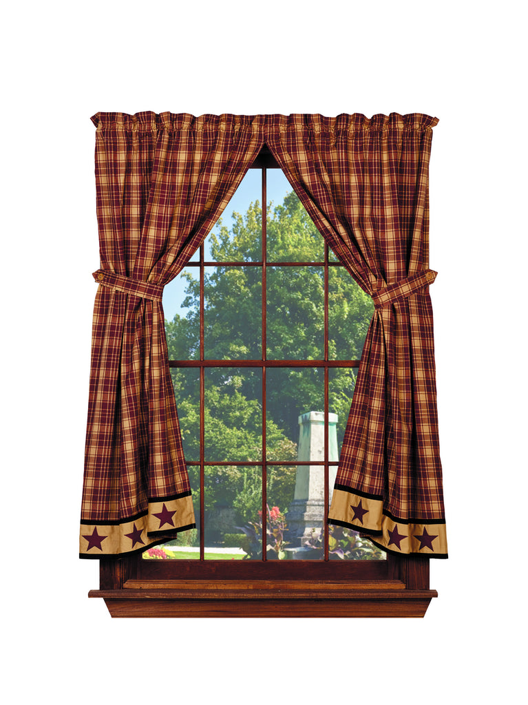 Heritage Star Wine - Burgundy Short Panel Window Curtains Pair - 72x63 total - 2 inch rod pocket