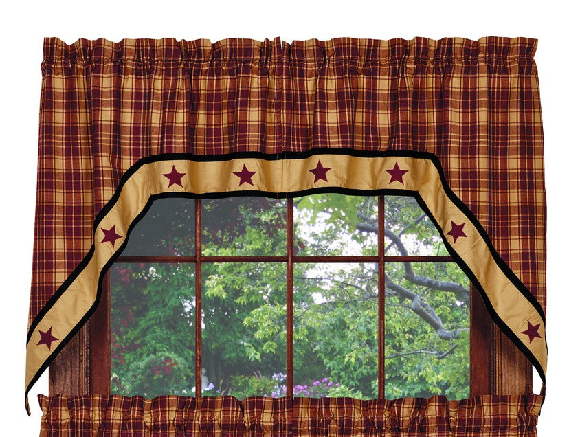 Heritage Star Wine - Burgundy Swag Set Window Curtains Pair - 72x36 total - 2 inch rod pocket