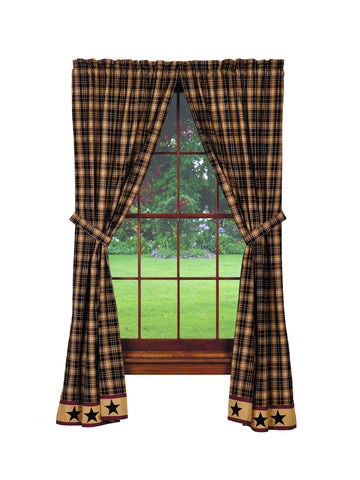 Heritage Star Black Panel Window Curtains Pair -72x84 total - 2 inch rod pocket
