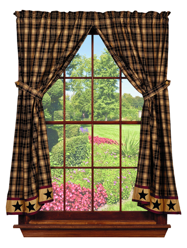 Heritage Star Black Short Panel Window Curtains Pair - 72x63 total - 2 inch rod pocket