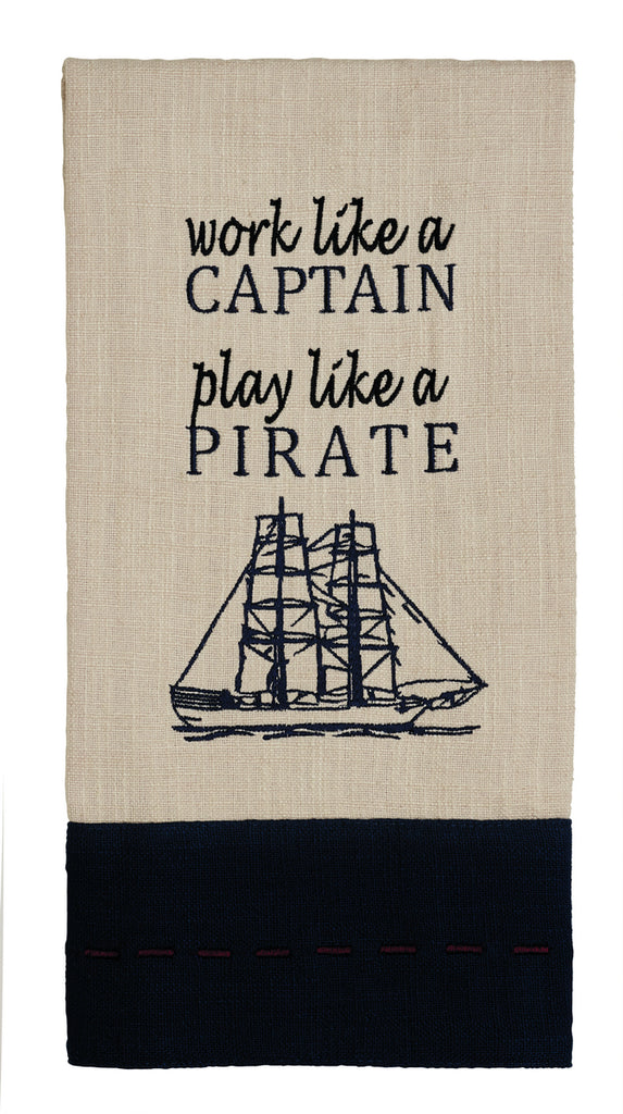 Maritime Work Like A Captain Dishtowel - Country Farmhouse Boat Lake  Kitchen Funny Dish Towels