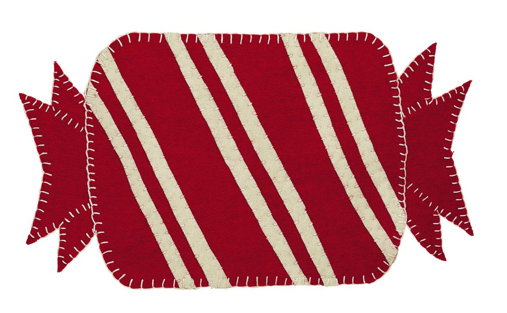 Candy Cane Oval Table Mat