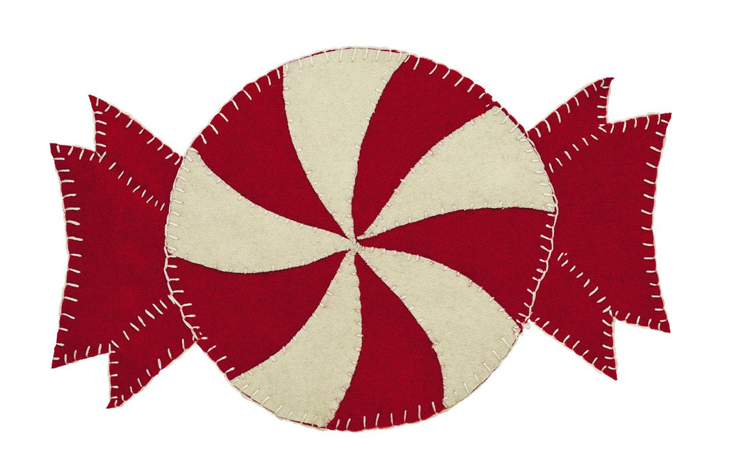 Candy Cane Round Table Mat