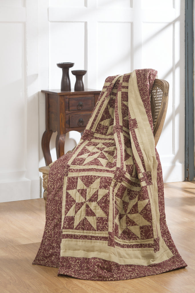 Evelyn Wine - Burgundy Quilted Throw Blanket