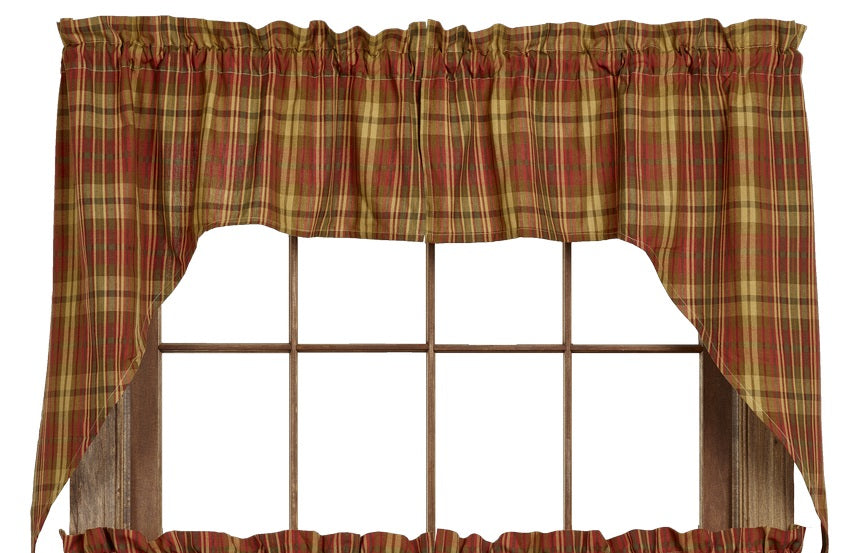 Cinnamon Swag Set Window Curtains Pair - 72x36 total - 2 inch rod pocket