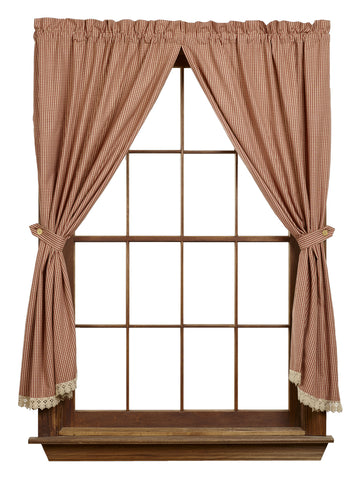 Ava Wine - Burgundy Short Panel Window Curtains Pair - 72x63 total - 2 inch rod pocket