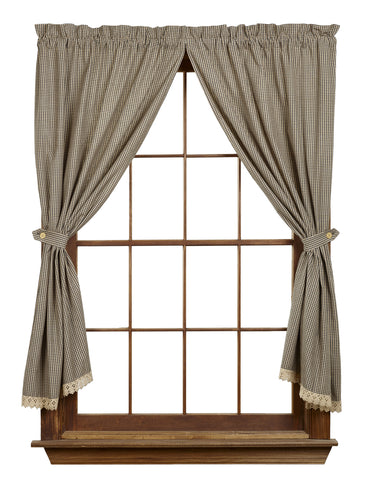 Ava Black Short Panel Window Curtains Pair - 72x63 total - 2 inch rod pocket