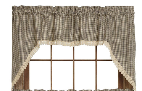 Ava Black Swag Set Window Curtains Pair - 72x36 total - 2 inch rod pocket