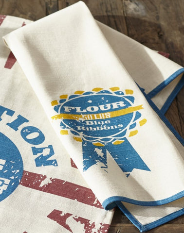 "Farm Feed ""Blue Ribbon Flour"" Dishtowel - Country Farmhouse Kitchen Dish Towels"