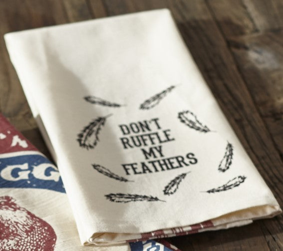 "Farm Feed ""Don't Ruffle My Feathers"" Dishtowel - Country Farmhouse Kitchen Funny Dish Towels"
