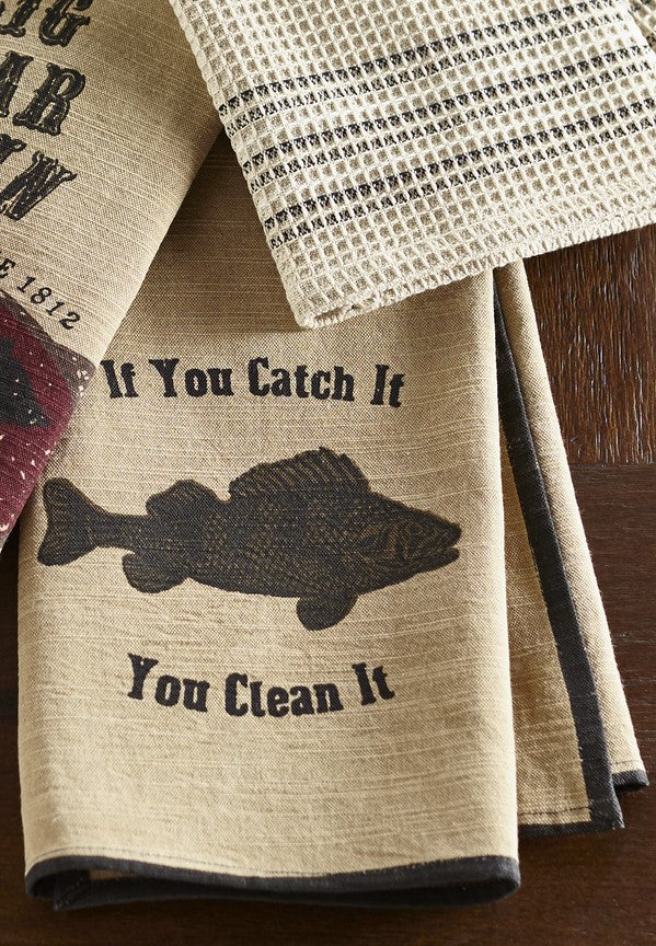 Bait N' Tackle Dishtowel - Country Farmhouse Kitchen Fishing Lake Dish Towels