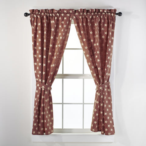 Stargazer Pino - Burgundy Red Short Panel Window Curtains Pair - 72x63 total - 2 inch rod pocket