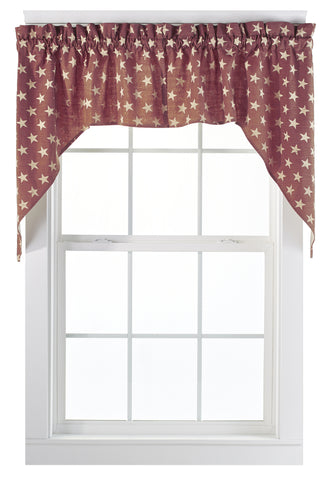 Stargazer Pino - Burgundy Red Swag Set Window Curtains Pair - 72x36 total - 2 inch rod pocket