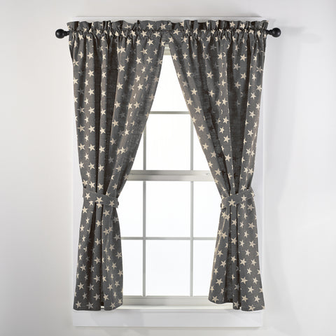Stargazer Charcoal Short Panel Window Curtains Pair - 72x63 total - 2 inch rod pocket