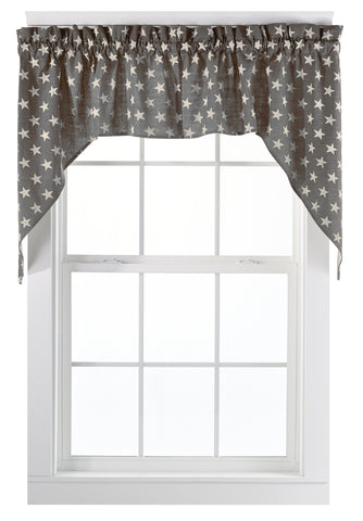 Stargazer Charcoal Swag Set Window Curtains Pair - 72x36 total - 2 inch rod pocket