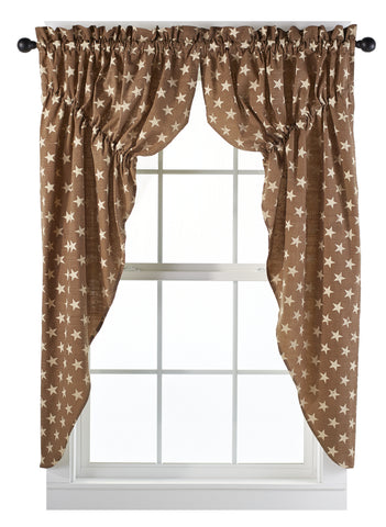Stargazer Latte Color Dark Tan - Light Brown Prairie Curtain Set
