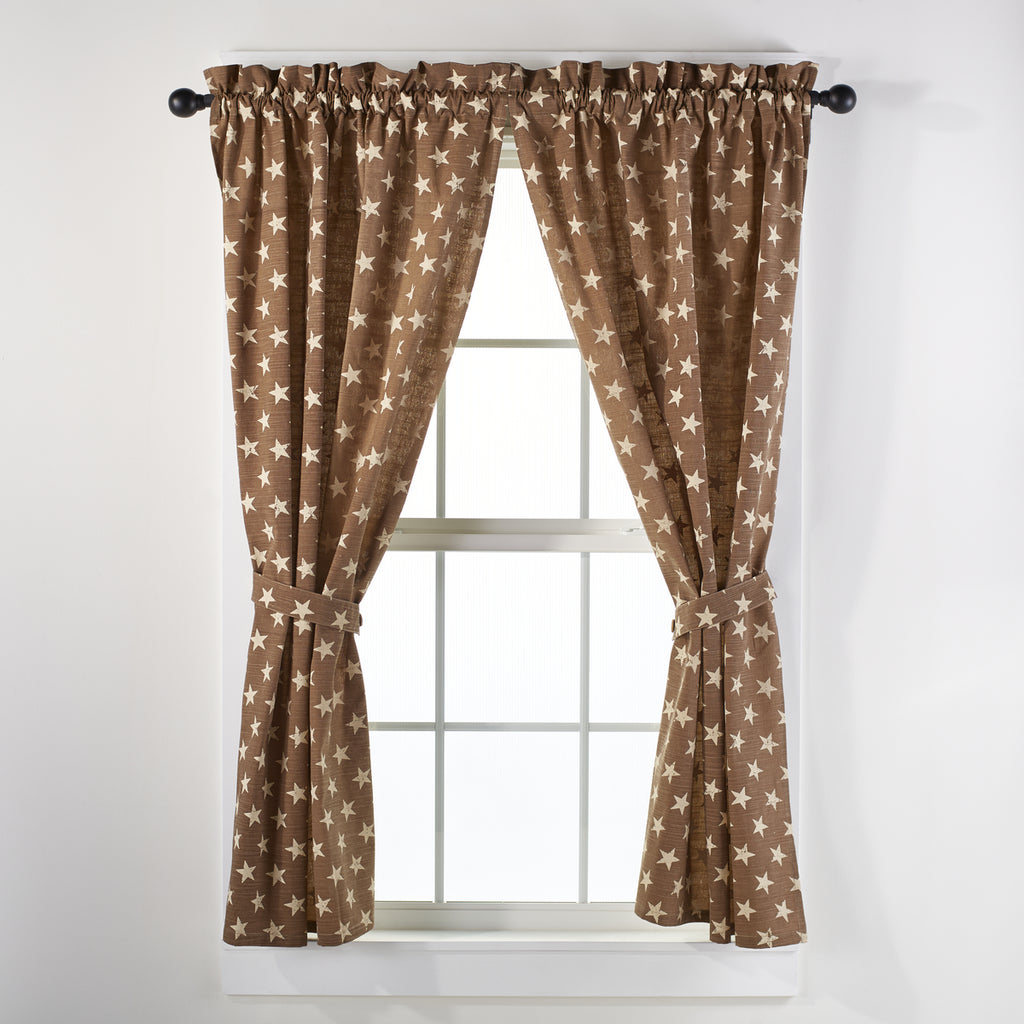 Stargazer Latte Color Dark Tan - Light Brown Short Panel Window Curtains Pair - 72x63 total - 2 inch rod pocket