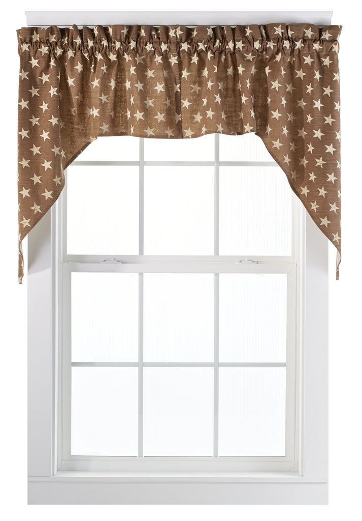 Stargazer Latte Color Dark Tan - Light Brown Swag Set Window Curtains Pair - 72x36 total - 2 inch rod pocket