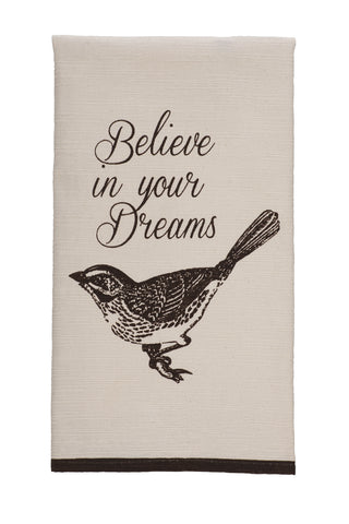 "Cottage Grove ""Believe In Your Dreams"" Dishtowel - Country Farmhouse Kitchen Dish Towels"