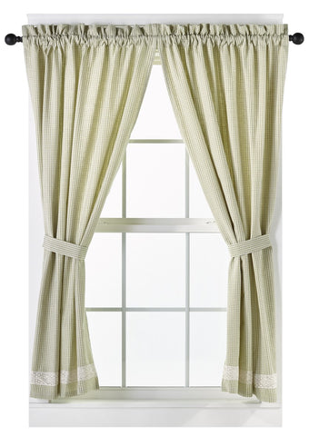 Nottingham Green Short Panel Window Curtains Pair - 72x63 total - 2 inch rod pocket