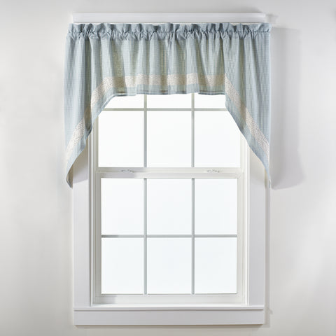 Nottingham Blue Swag Set Window Curtains Pair - 72x36 total - 2 inch rod pocket