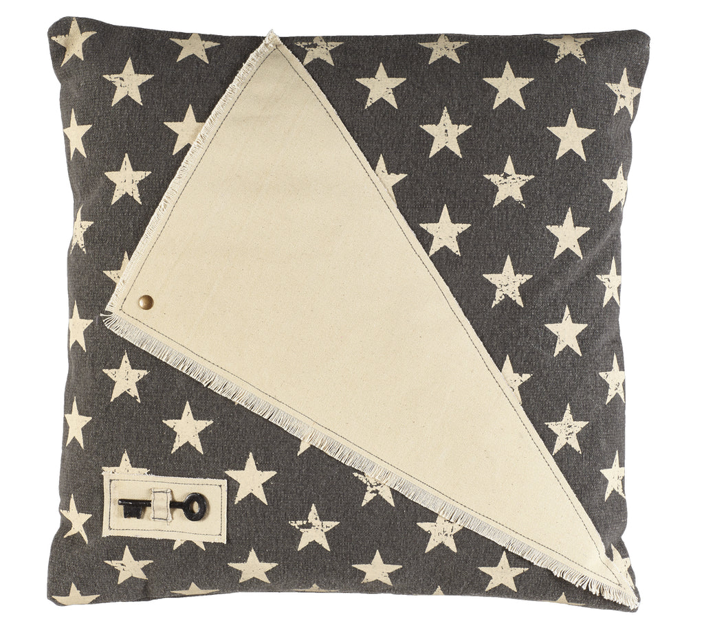 Stargazer Charcoal - Star Patch and Key Pillow