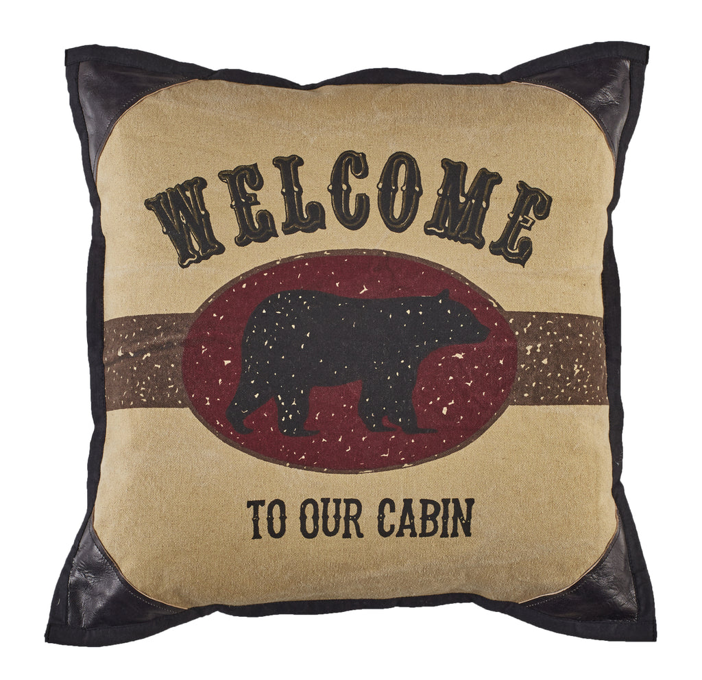 Welcome To Our Cabin Bear Pillow